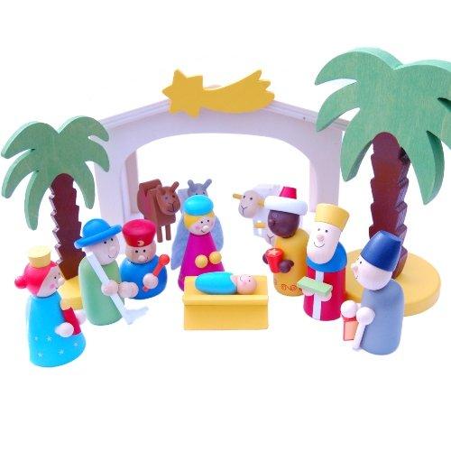 gisela graham wooden nativity scene set bright coloured great for kids amazoncouk kitchen u0026 home - Wooden Nativity Set