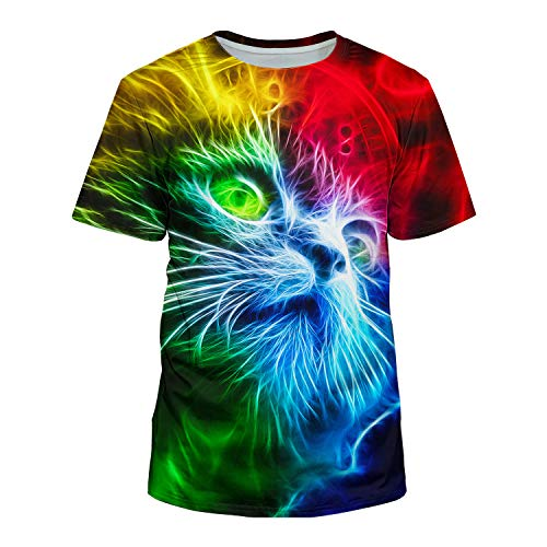 Cat Colorful (Kayolece Unisex 3D Colorful Cat Shirt Fahsion Casual Funny Graphic Tees XXL)