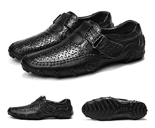 Scarpe Loafers Antiskid Cuoio Classico Nero Casual Mocassini Uomo Durevole Eleganti Estivi Traspirante wWvq1WIFOx