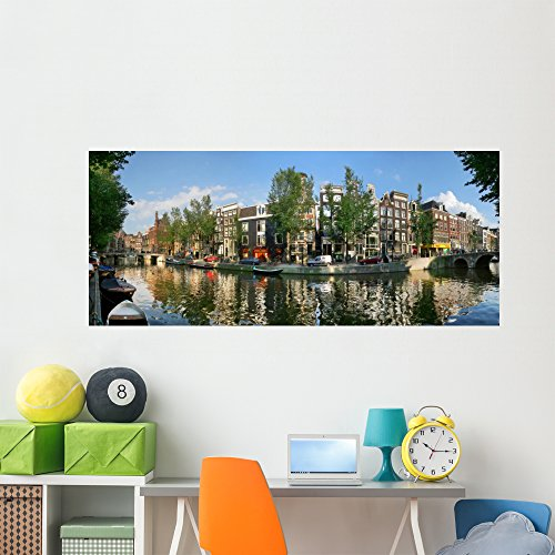 Amsterdam Canal Wall Mural by Wallmonkeys Peel and Stick Panoramic Decal Graphics (72 in W x 31 in H) - Buy Best Hours Holland