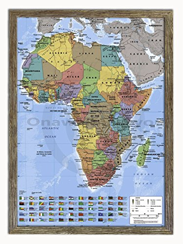 Laminated Posters Framed - Map of Africa - Push Pin Memo Notice Board - Natural Driftwood Effect - Matt Finish - Measures 96.5 x 66 cms (38 x 26 Inches - Approx) ()