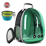 Hcupet Cat Carrying Backpack, Space Capsule Outdoor Pet Backpack for Small Dog, Polarized Transparency Anti-Glare & UV Protection Waterproof Cat Holding Backpack (Green)