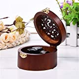 1pcs Round Wood Case Music Box Simple Vintage Design Wooden Clockwork Music Box Kid New Year Gift Decorations for Home