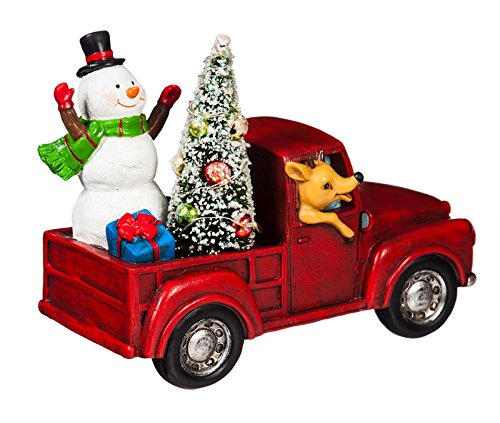 Cypress Home LED Snowman in a Red Truck Table Top ()