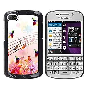 TECHCASE**Cubierta de la caja de protección la piel dura para el ** BlackBerry Q10 ** Music Notes Pink Flowers Butterflies Nature
