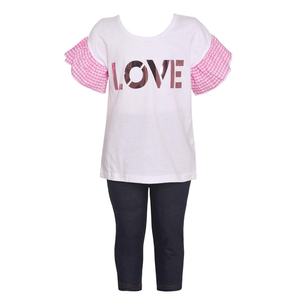 Little Girls White Pink Checkered Sleeve Love 2 Pc Leggings Outfit 4-6X