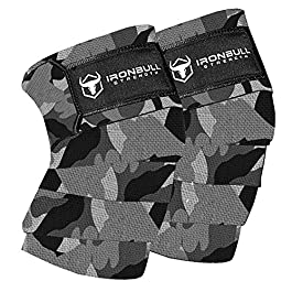 Iron Bull Strength Knee Wraps (1 Pair) – 80″ Elastic Knee and Elbow Support & Compression – for Weightlifting, Powerlifting, Fitness, WODs & Gym Workout – Knee Straps for Squats