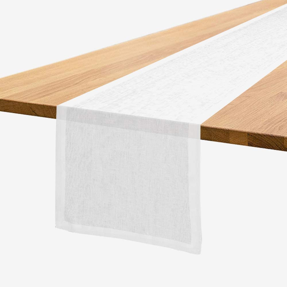 Home Kear Table Runners 14x72 Inches -Table Runner White Table Runner Farmhouse Style-Rustic Table Runner Cotton Linen, Natural Fabric Runner-Machine Washable Wedding Tablerunner for Party Decorations