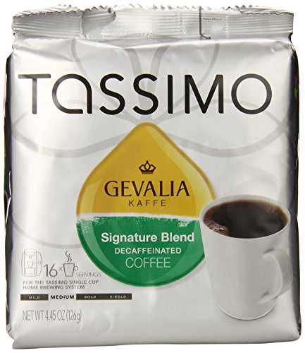 Gevalia Signature Blend Decaf Coffee, Medium Roast, T-Discs for Tassimo Brewing Systems, 16 Count