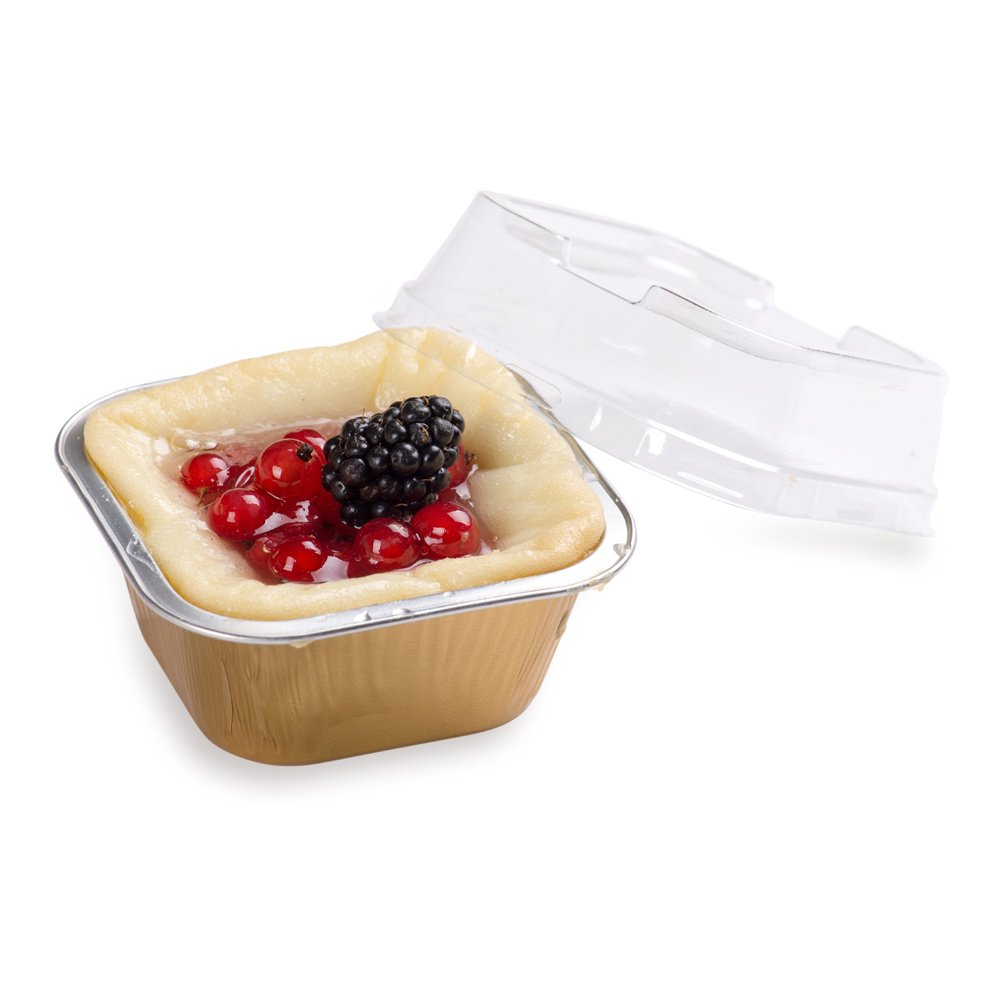 Premium 3.4-OZ Baking Cups with Lids - Square Foil Baking Cups & Lids Perfect for Fancy Desserts or Mini Snacks - Gold Cup with Clear Lid - Oven & Freezer Safe - Recyclable - 100-CT by Restaurantware (Image #4)