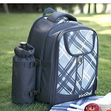 VonShef - 4 Person Blue Tartan Picnic Backpack With Cooler Compartment, Detachable Bottle/Wine Holder, Fleece Blanket, Flatware and Plates