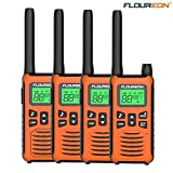 Walkie Talkies for Kids 4 Pack Rechargeable FLOUREON Long Range Two Way Radios 22 Channel 3000M (MAX 5000M) USB Cable Charging gmrs Walkie Talkie for Outdoor Adventures Camping Hiking(Orange)