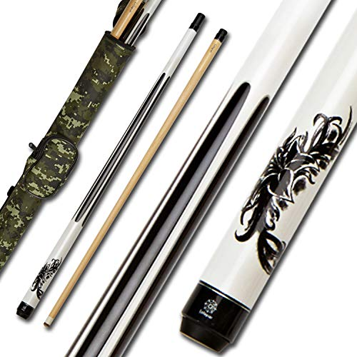 Collapsar 2- Piece Pool Stick + 1x1 Camo Hard Cue Case, with 13mm Glued on Tip, Solid Canadian Maple Billiard Pool Cue Stick 19-21 Oz (CP2+Joint Protector+Cue Case, 19 Ounce)