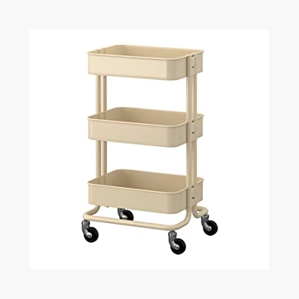 Raskog Home Kitchen Bedroom Storage Utility Cart, Beige