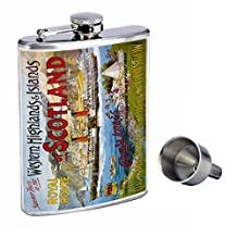 Perfection In Style 8oz Stainless Steel Whiskey Flask with Free Funnel D-095 Western Highlands & Islands of Scotland Royal Route Summer Tours