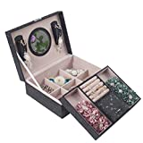 Angela and Tina Mothers Day Jewelry Box Organizer For Women 2 Layers Tray Lockable Mirrored PU Leather Black