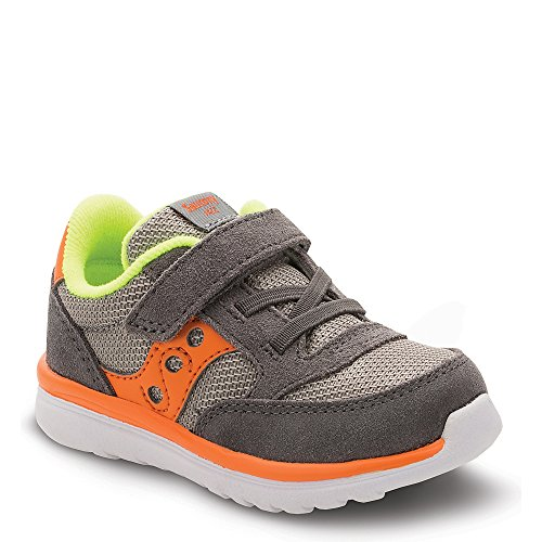 Saucony Baby Jazz Lite Sneaker (Toddler/Little Kid/Big Kid), Grey/Orange/Citron, 4.5 M US Toddler by Saucony