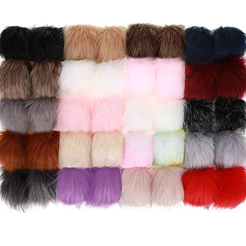 40 Pieces Faux Fur Pom Pom Balls Fluffy Pompom Balls with Elastic Loop for Hat Shoes Keychains Scarves Bag Charms Accessories