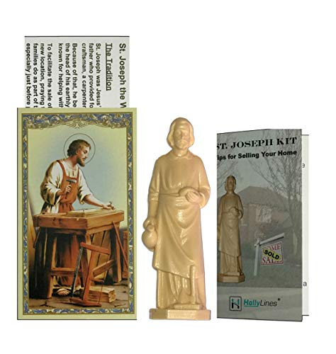 Holly Lines Saint Joseph Statue Home Sale Kit with Tips to Help Sell, Prayer Card and Instructions ()