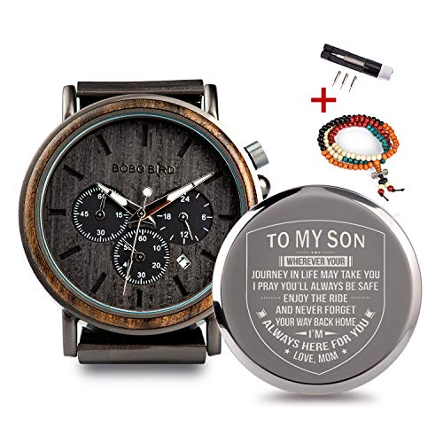 Engraved Personalized Wooden Watch for Boyfriend My Man Fiancé Husband Customized Wooden Watches for Men Birthday Gifts (B-for Son from Mom)