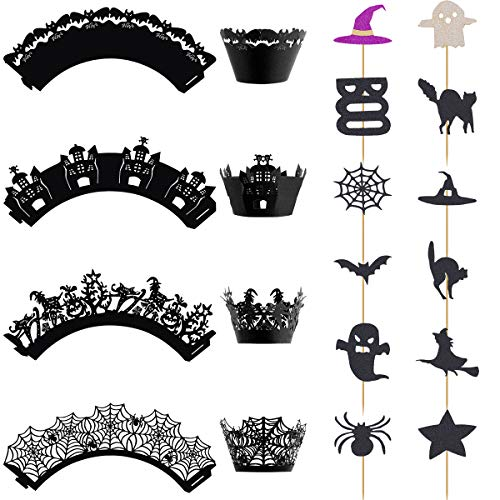 Homemade Halloween Decorations With Paper (Apipi 48 Pcs Halloween Cupcake Toppers Wrappers- 24 Cupcake Wrappers Liners, 24 Mini Cake Toppers, Boo Ghost Bats Witch Hat Spider Web Cat Cake Decoration for Halloween Christmas Birthday Party)
