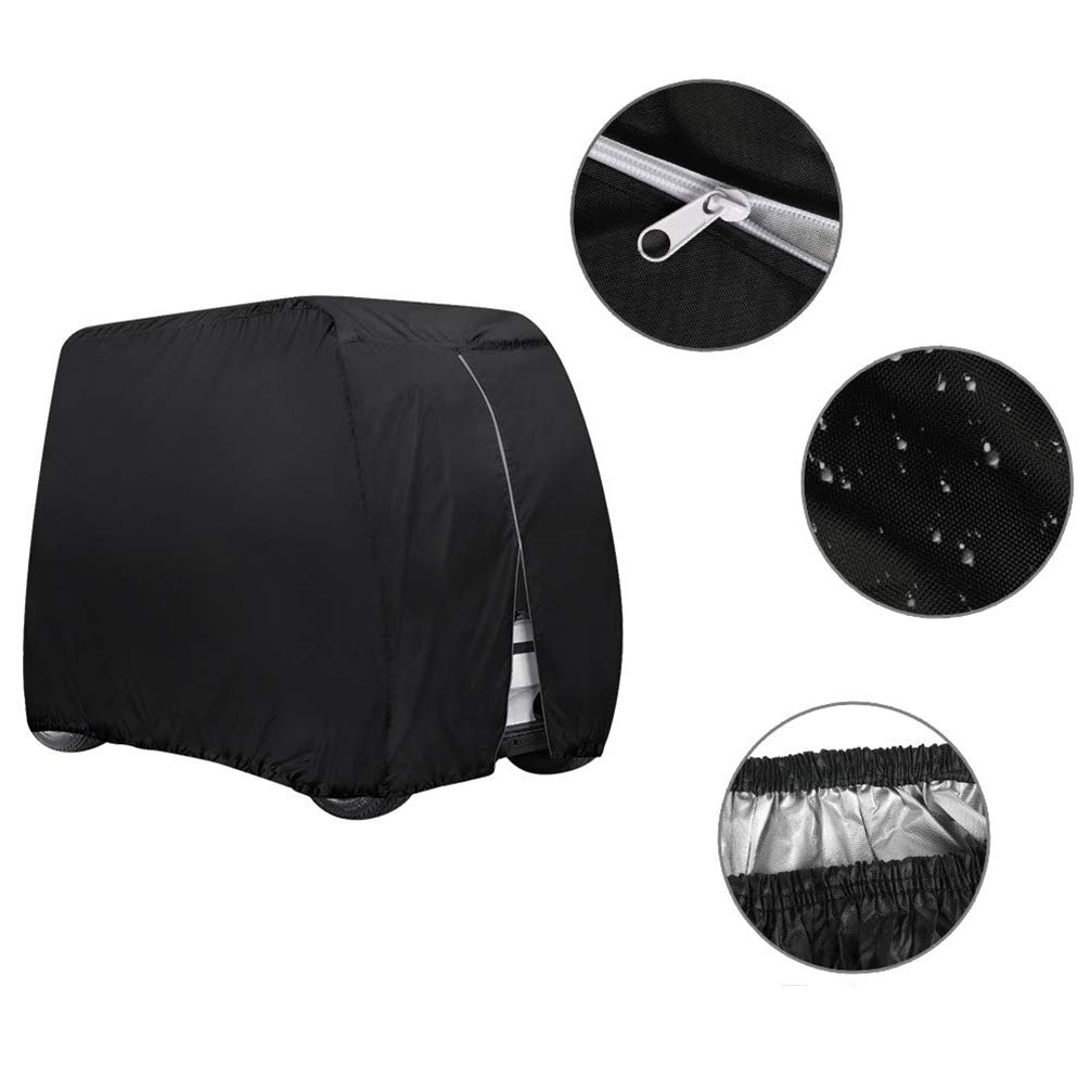 Golf Cart Cover, 210D Oxford Cloth Waterproof Durable for 4 Passenger Seat Dust Proof Black Club Car Cover by Lin-Tong