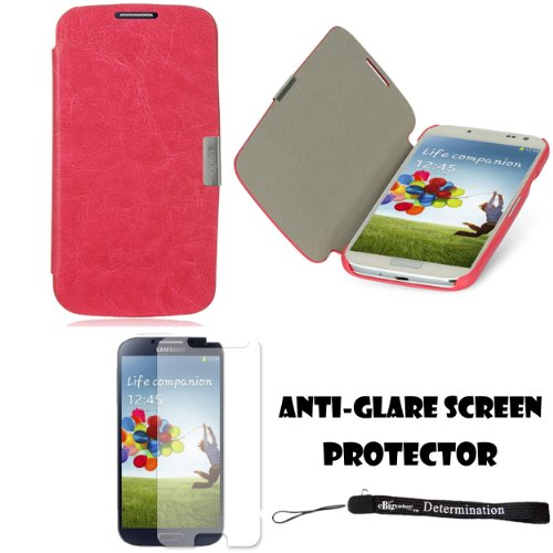 eBigValue Magenta Secure Flip Case For Samsung Galaxy S4 Android Smartphone 4G LTE (Jelly Bean) + Samsung Galaxy S4 Screen Guard Protector + an Determination Hand Strap by eBigValue