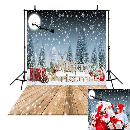 (Allenjoy 5x7ft Winter Photography Backdrops Reindeer Pull Sleds in The Night Sky Christmas Tree Cedar Snow Scene Background Children Photo Studio Props)