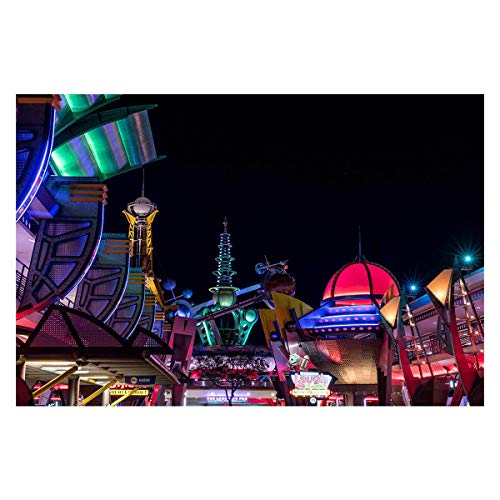Disney Home Decor, Ready to Hang, Magic Kingdom Art, Tomorrowland at Night Printed on Aluminum, Large Metal Print, 6 Sizes Available up to 45