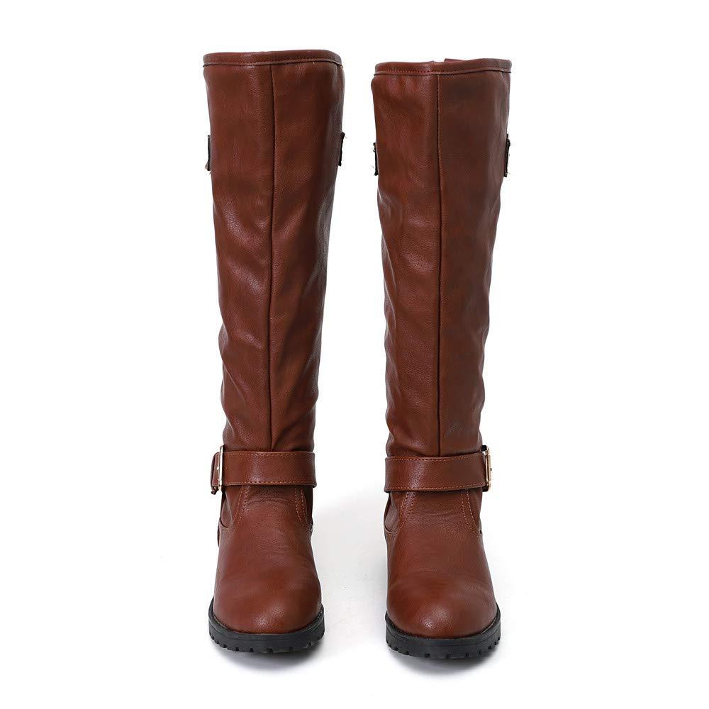 JiaMeng Botas Altas Mujer Invierno Muslo Alto Botines La Rodilla Boots Aumentado Plano Talones Zapatos Moda tacón Medio Botas Inferior Pierna Alta de ...