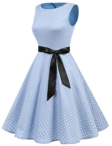 White Small Cóctel Fiesta Retro Pin Blue Sin Mujer Up Gardenwed Dot Mangas Vestidos FqOPPTw