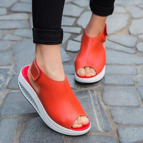 Fitness Sneaker con Velcro Comfort Pelle Piattaforma Zeppa Sandali Peep Camminare Toe Minetom Antiscivolo Estate Rosso Donna PU Scarpe ZFax00wq