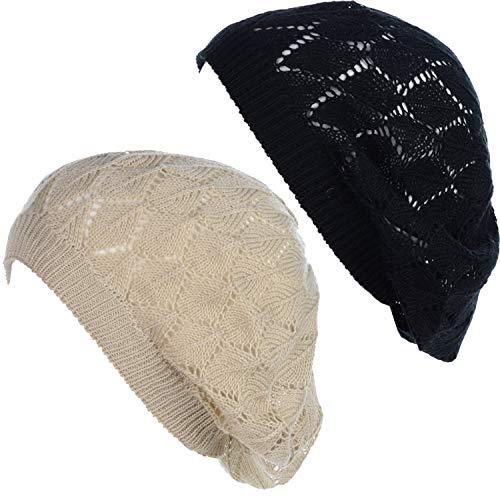 BYOS Chic Parisian Style Soft Lightweight Crochet Cutout Knit Beret Beanie -