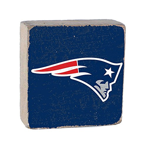 NFL New England Patriots, Team Color Background Team Logo Block by Rustic Marlin 6