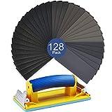 drywall sheets - Sanding Block Sander Hand Wet Dry Sandpaper Kit VenKoda 128PCS 120 to 3000 Grit Sand Paper Assortment Auto Body Sanding Paper Sheets Drywall Sandpaper for Wood Automotive Metal Finishing and Polishing