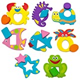 Bath Toys for Toddlers-The Biggest Educational Foam Toys with Bath Toy Organizer-Cool Puzzles with Geometric Shapes(16 items)-Funny Early Learning Toys Reviews