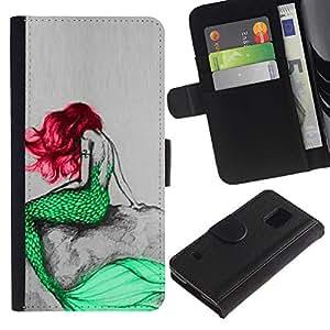 Caso Billetera de Cuero Titular de la tarjeta y la tarjeta de crédito de la bolsa Slot Carcasa Funda de Protección para Samsung Galaxy S5 V SM-G900 Mermaid Green Red Hair Tail Ocean Fa