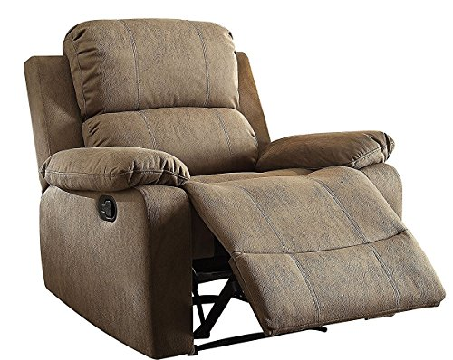 Foam Recliner (Major-Q Memory Foam Washed PU leather Fully Reclining Recliner Chair for Living Room Tan 59527)