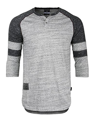 ZIMEGO Men's 3/4 Sleeve Baseball Football College Raglan Henley Athletic TShirt,Grey Black,XXLarge (Quarter Slub Sleeve Shirt)