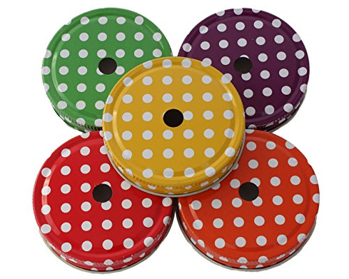 Straw Hole Tumbler Lids for Regular Mouth Mason, Ball, Canning Jars (5, Polka Dot)