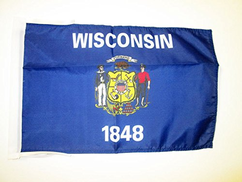 AZ FLAG Wisconsin Flag 18'' x 12'' Cords - US State Wisconsin Small Flags 30 x 45cm - Banner 18x12 in