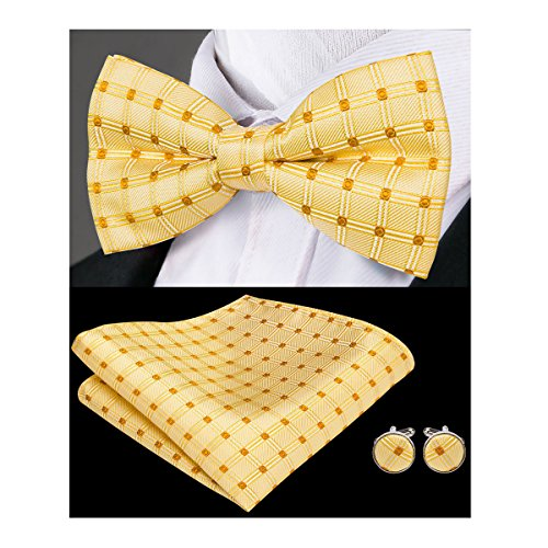 Hi-Tie Men Yellow Dots Bow Tie Necktie with Cufflinks and Pocket Square Bow Tie Set