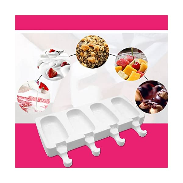 Crewell - Stampo per Gelato a 4 cavità, in Silicone, Antiaderente, per Dolci e Torte 3 spesavip