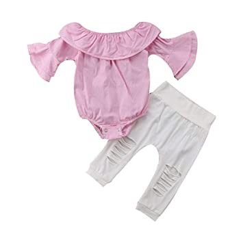 cd4f3f402f26 Amazon.com   Toddler Infant Baby Girls Clothes Cold Shoulder Striped Tops  Romper and Ripped Pants Outfits Set (12-18 Months