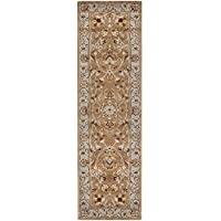 Safavieh Heritage Collection HG821A Handcrafted Traditional Oriental Beige and Blue Wool Runner (26 x 6)