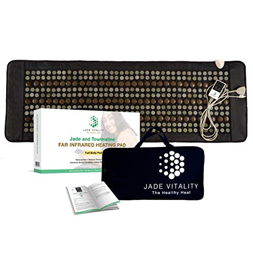 Jade Heating Pad for Back Pain Relief | Far Infrared Jade and Tourmaline Mat | 405 Stones, Digital Control, Travel Bag and USA Support | NO EMF Full Body Size 68 x 23.5 Inches for Clinical Use