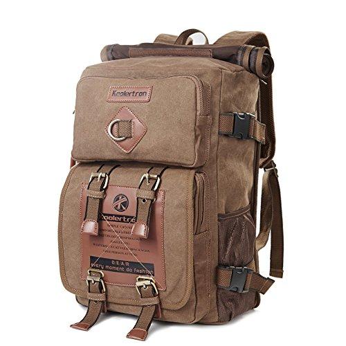 "Koolertron Canvas Vintage Fashion Rucksack Laptop 15.6"" Back"