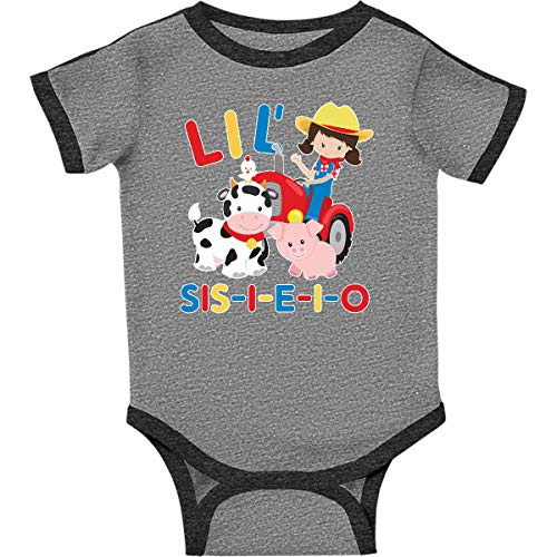 inktastic Farmer Tractor EIEIO Infant Creeper 18 Months Ringer Heather and Smoke ()