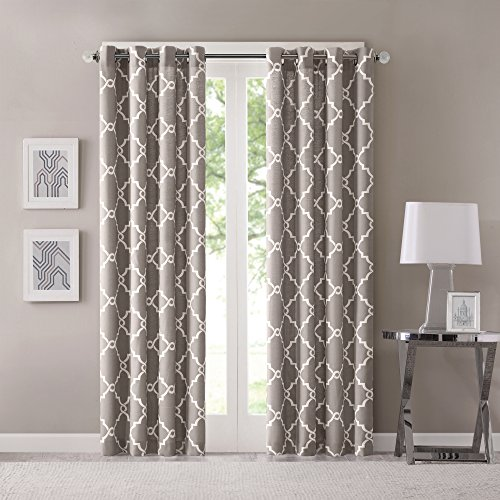 Madison Park Saratoga Room-Darkening Curtain Fretwork Print 1 Window Panel with Grommet Top Blackout Drapes for Bedroom and Dorm, 50x95, Grey