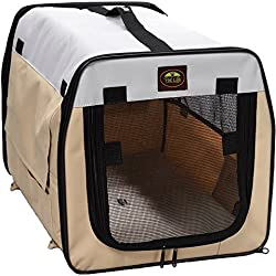 Pet Life Airline Zippered Stripe Pattern Folding Cage Carrier, Medium by Pet Life
